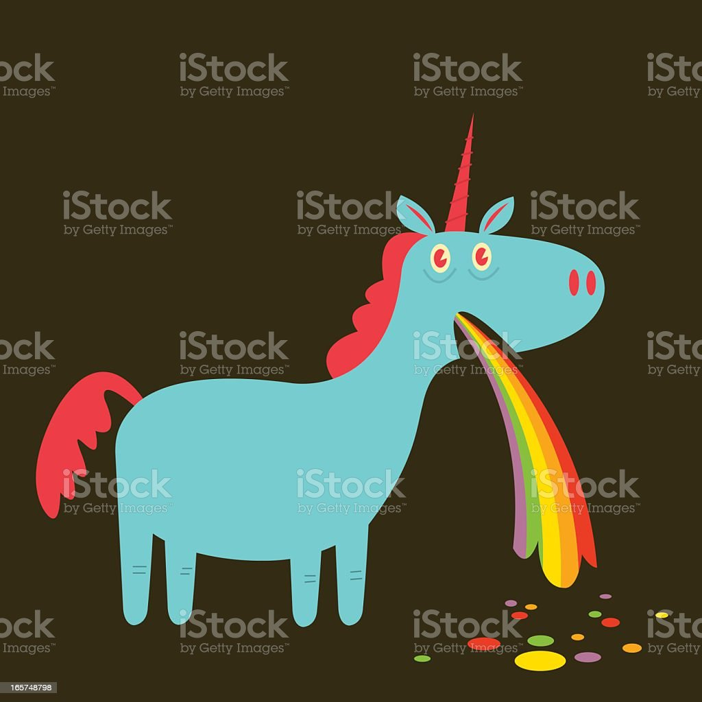 Puking Up Rainbows vector art illustration