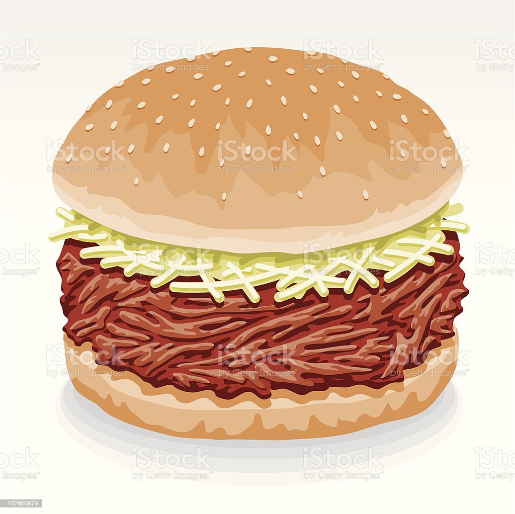 Pulled Pork Sandwich royalty-free stock vector art