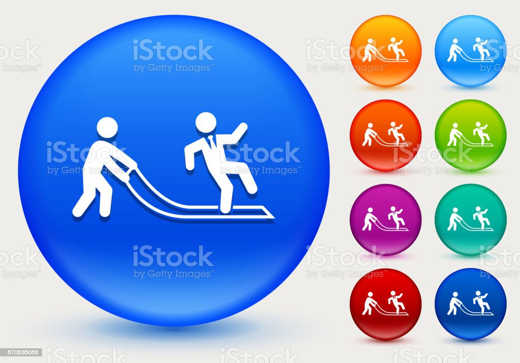 Pulled Rug Icon on Shiny Color Circle Buttons vector art illustration