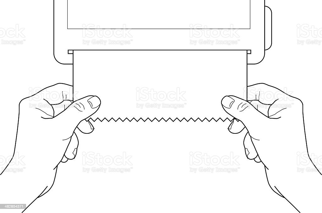 Pulling paper towel vector art illustration