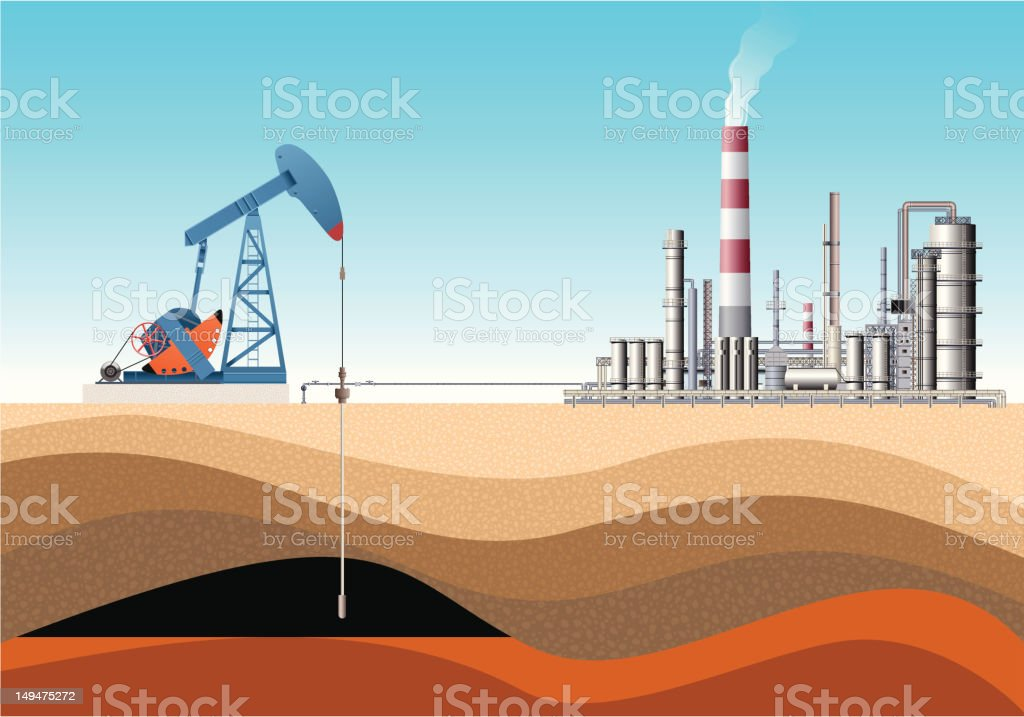 Pump Jack and Oil Refinery vector art illustration