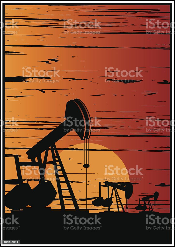pump sunset desert royalty-free stock vector art