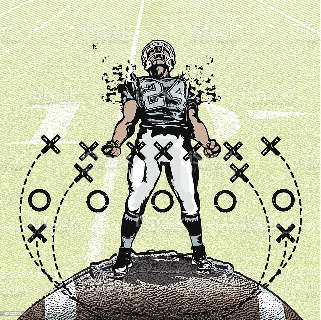 Pumped Up Football Player vector art illustration