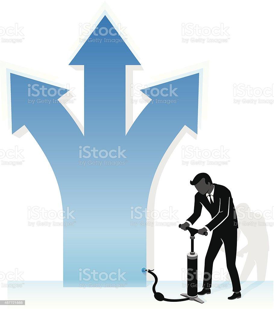 Pumping Multiple Business Growth vector art illustration