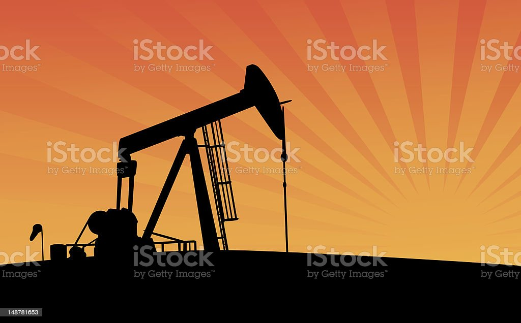 Pumpjack at Sunset royalty-free stock vector art