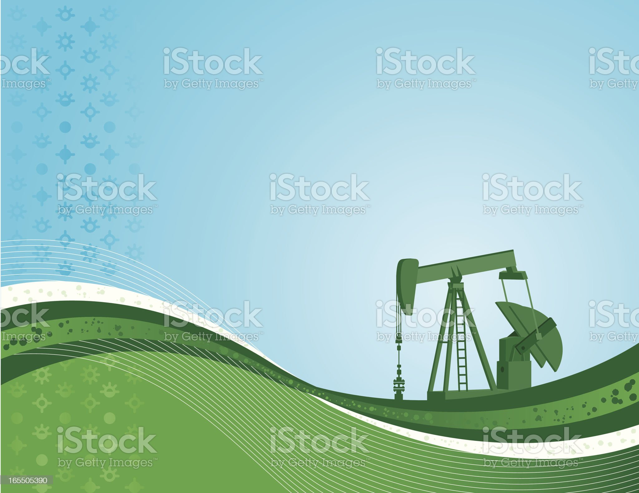 Pumpjack background in blue and green royalty-free stock vector art