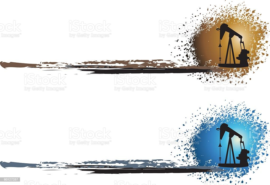 Pumpjack Sunset Illustration royalty-free stock vector art