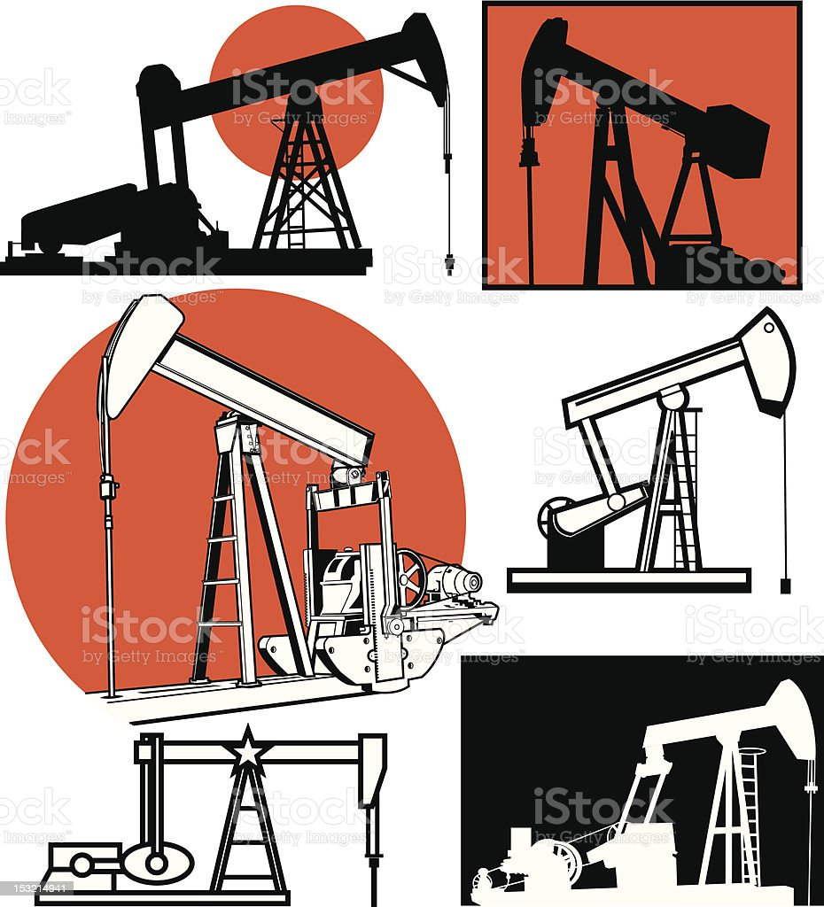 Pumpjacks royalty-free stock vector art