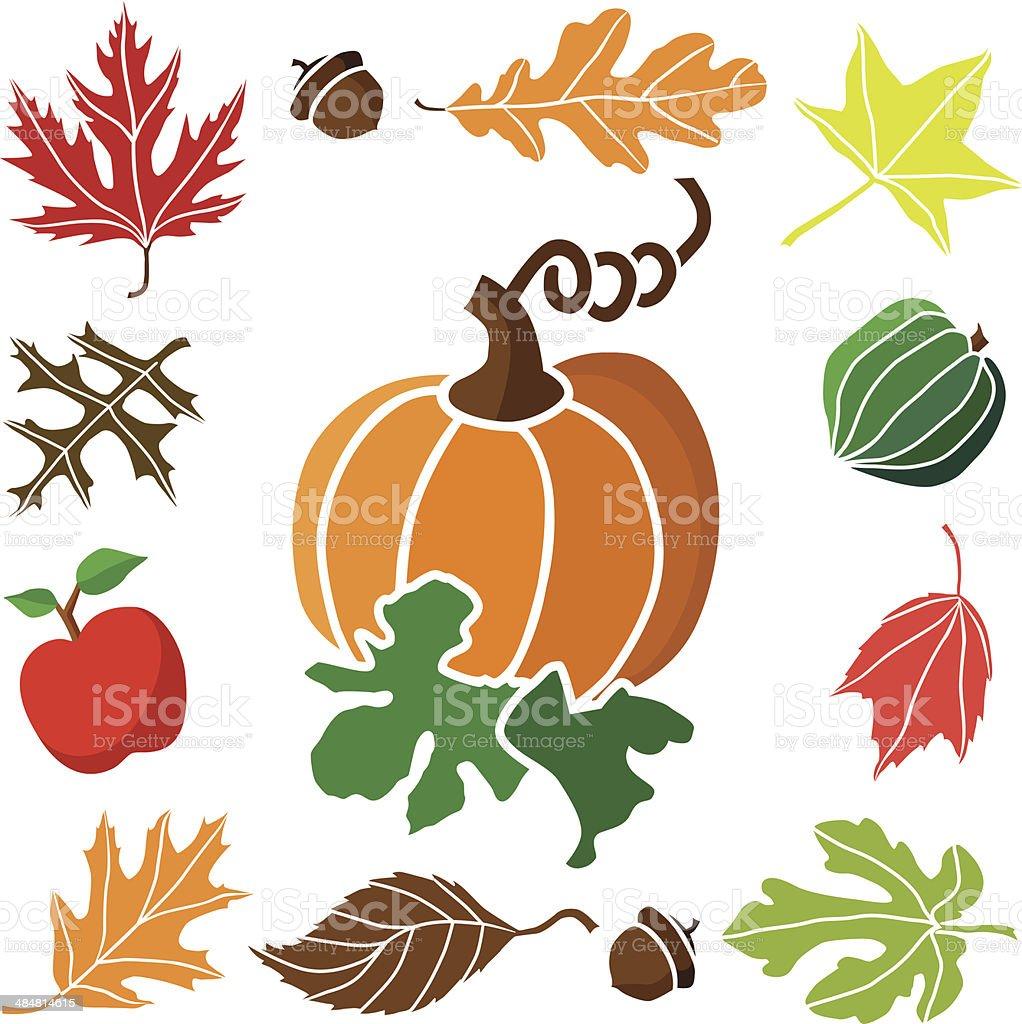 pumpkin and autum icon border royalty-free stock vector art