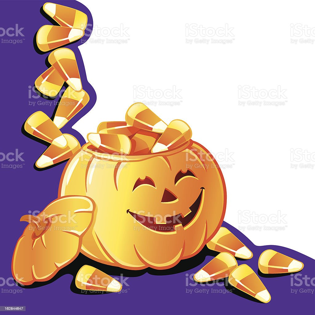 Pumpkin and candy corn royalty-free stock vector art