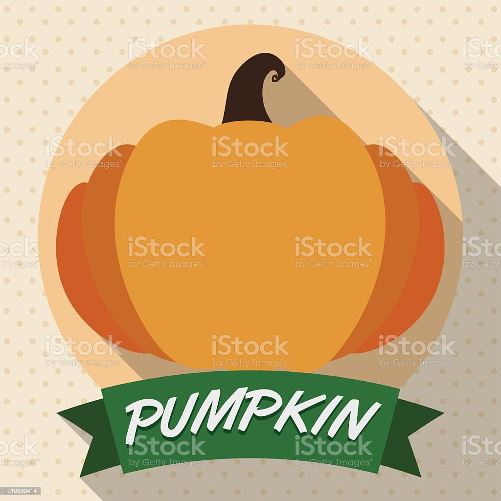 Pumpkin and Ribbon in Flat Style vector art illustration