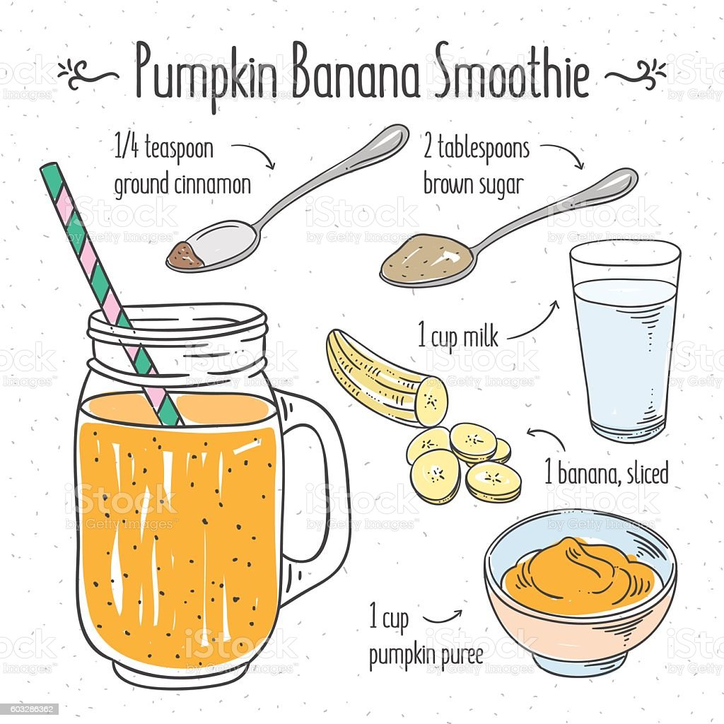 Pumpkin banana smoothie. Smoothie recipe cooking illustration vector art illustration