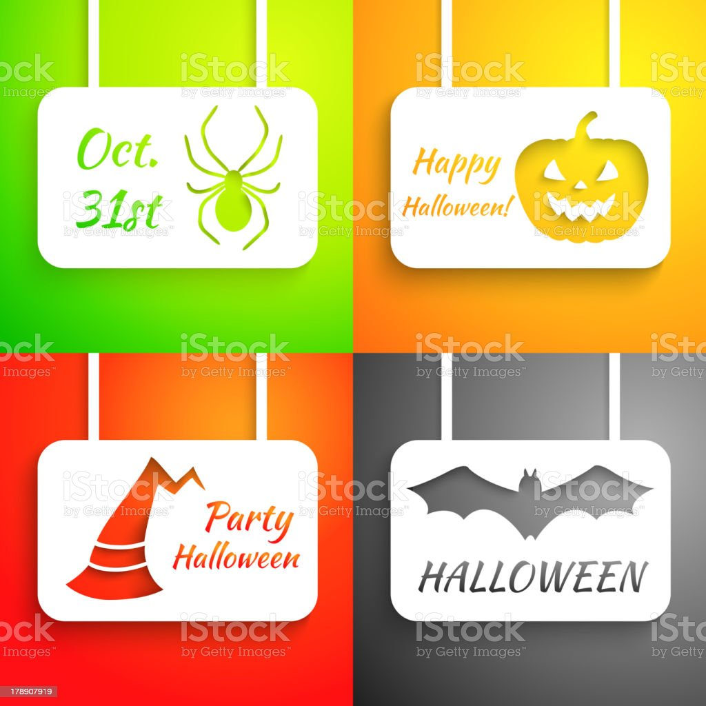 Pumpkin, bat, hat and spider paper applique background set. royalty-free stock vector art