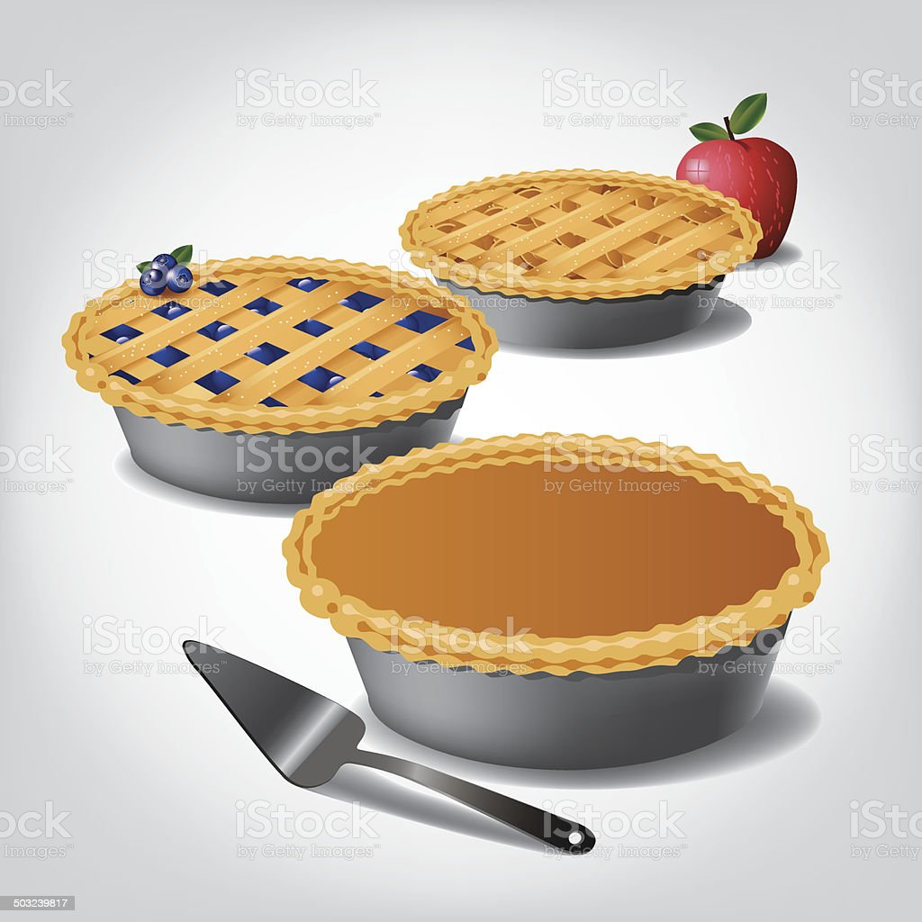 Pumpkin, blueberry and apple pie. vector art illustration