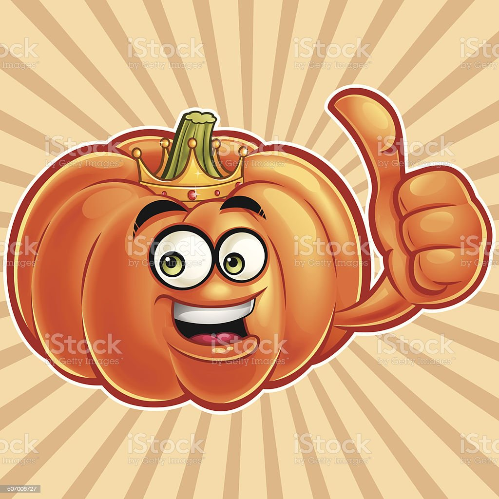 Pumpkin Cartoon - Thumbs Up royalty-free stock vector art