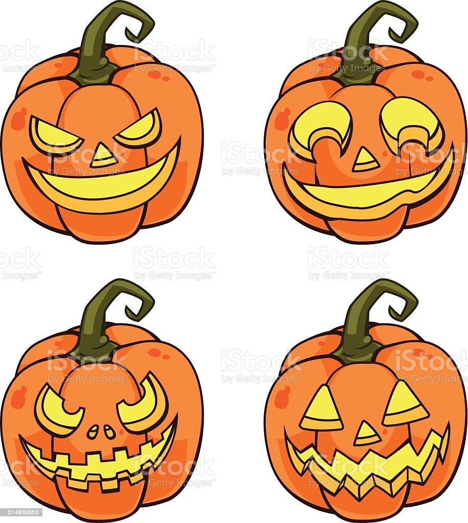 Pumpkin face cartoon version royalty-free stock vector art