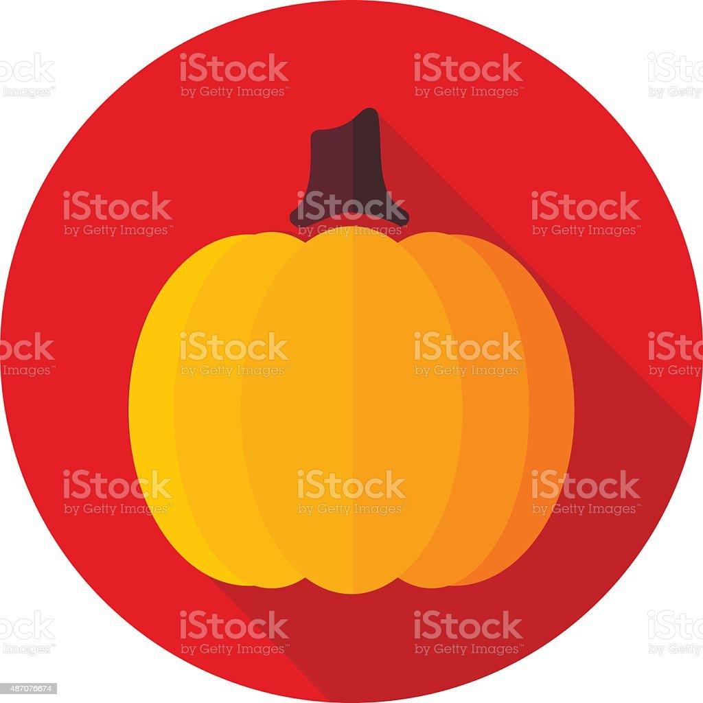 Pumpkin flat icon with long shadow vector art illustration