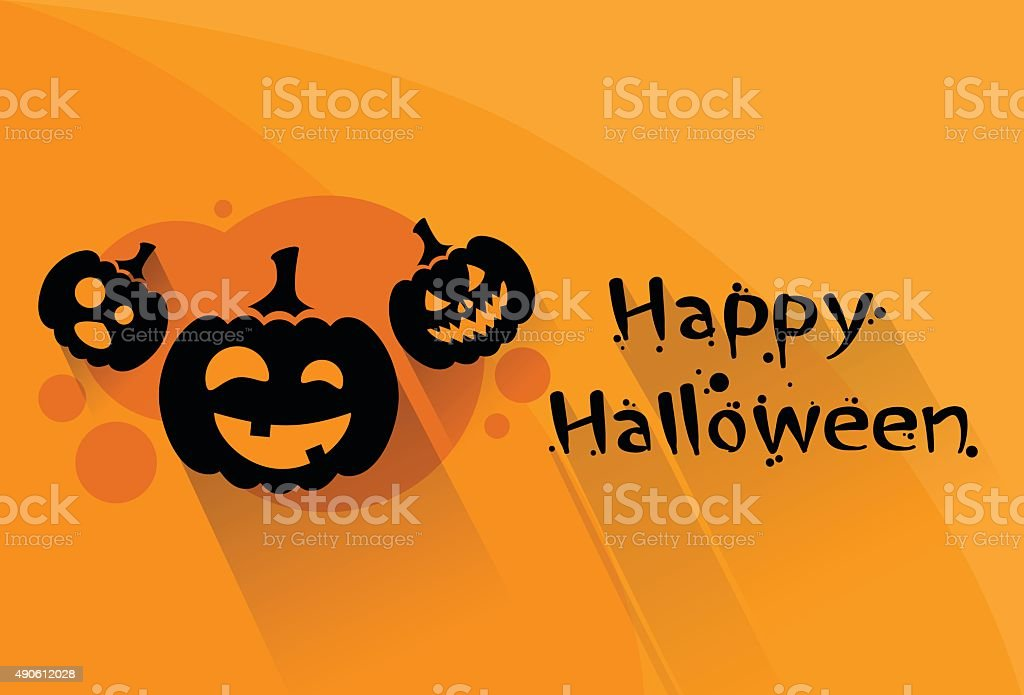 Pumpkin Halloween Scary Face Character Orange Flat Logo Web Banner vector art illustration