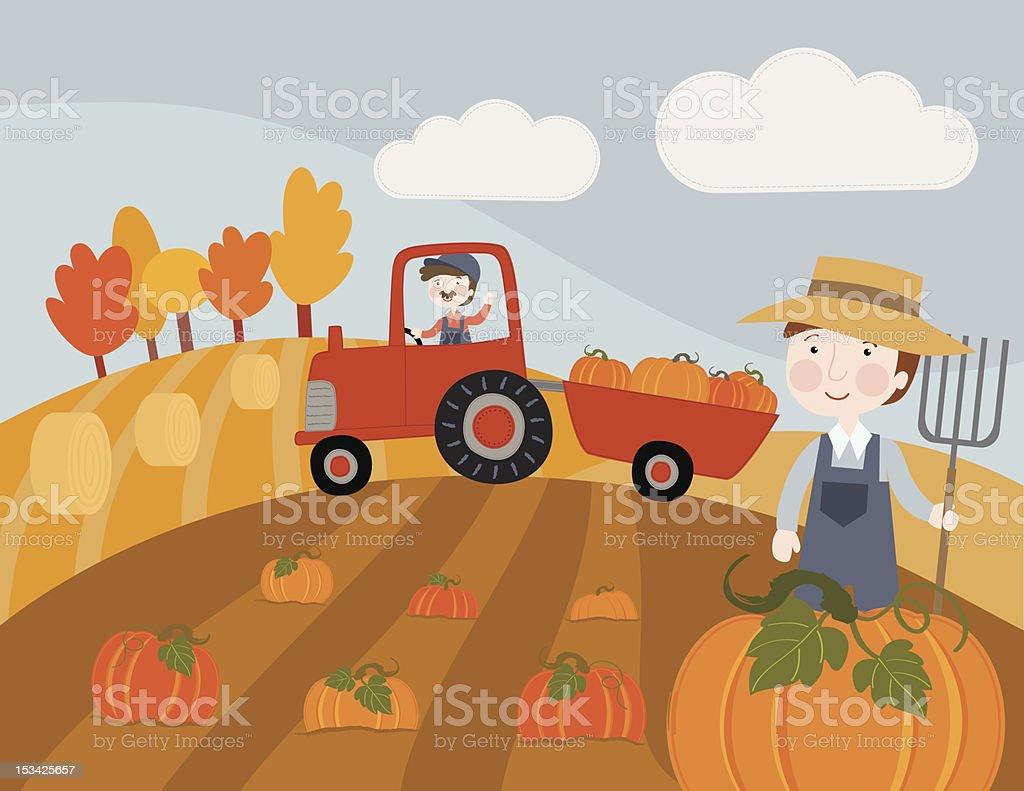 Pumpkin Harvest vector art illustration