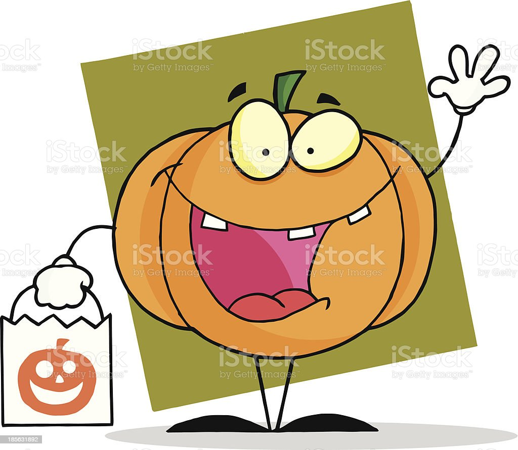 Pumpkin Holding A Bag With Background royalty-free stock vector art