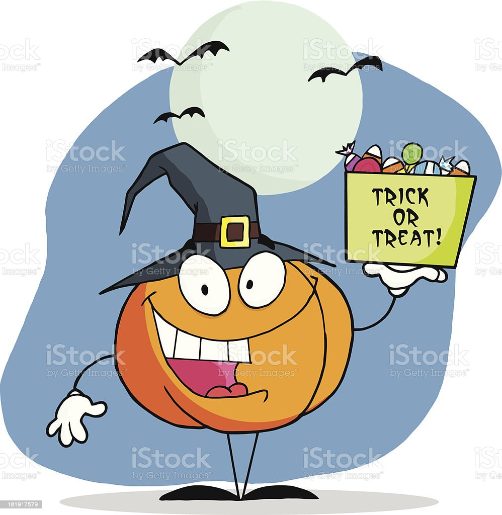 Pumpkin Holds Box Of Candy With Background royalty-free stock vector art