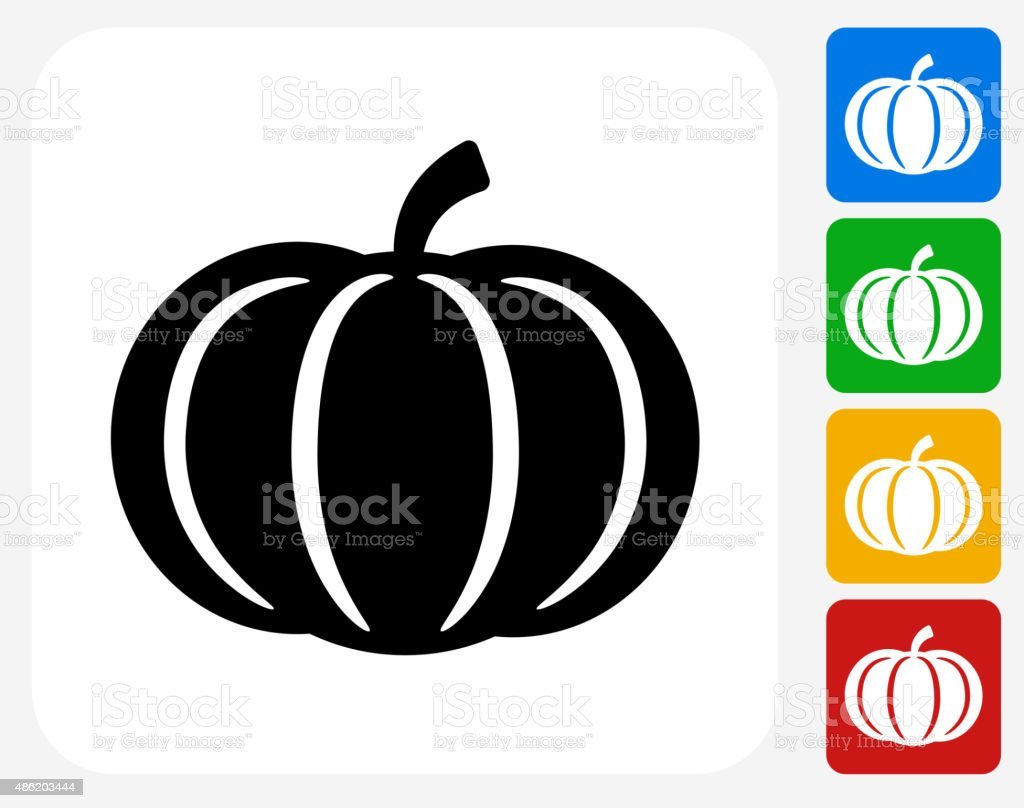 Pumpkin Icon Flat Graphic Design vector art illustration