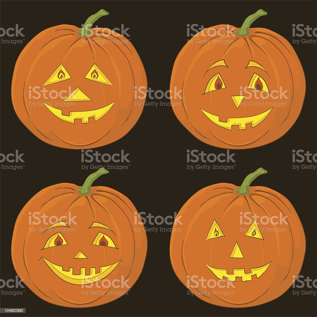 Pumpkin Jack O Lantern, set vector art illustration