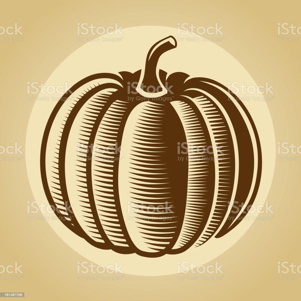 Pumpkin label in retro vintage style royalty-free stock vector art