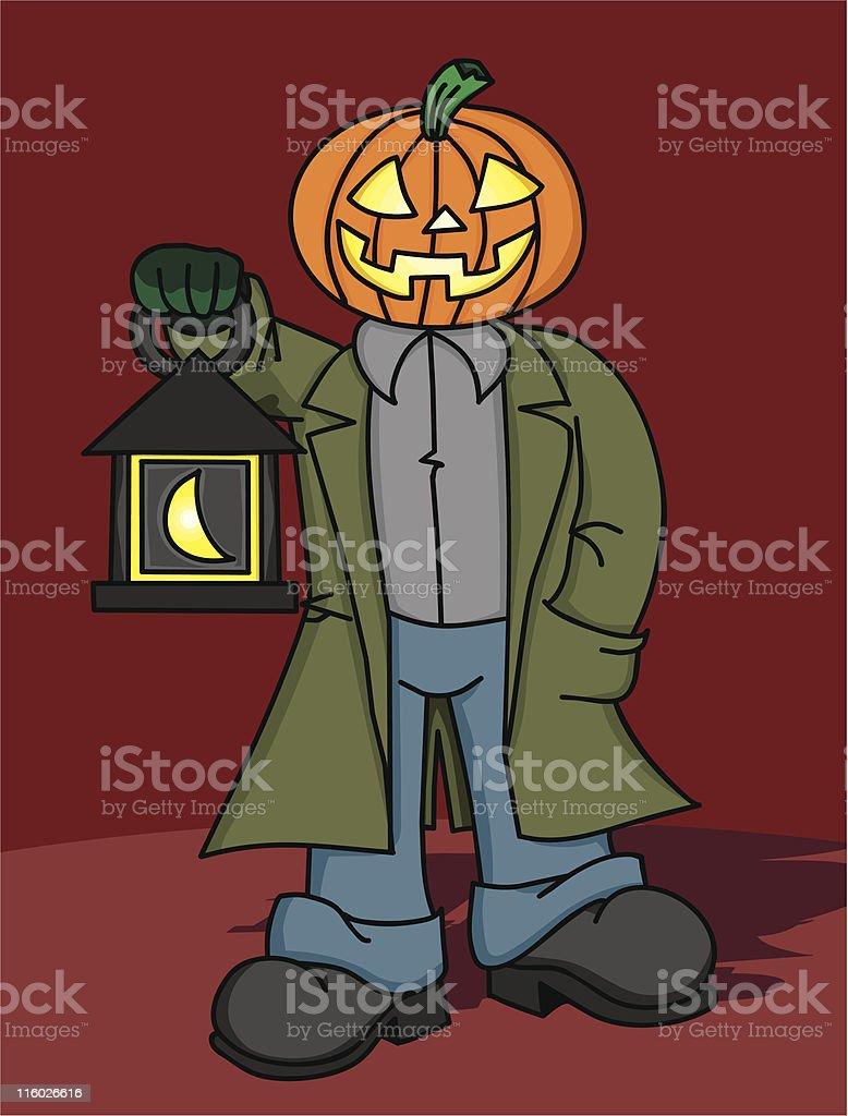 Pumpkin Man with Lantern royalty-free stock vector art