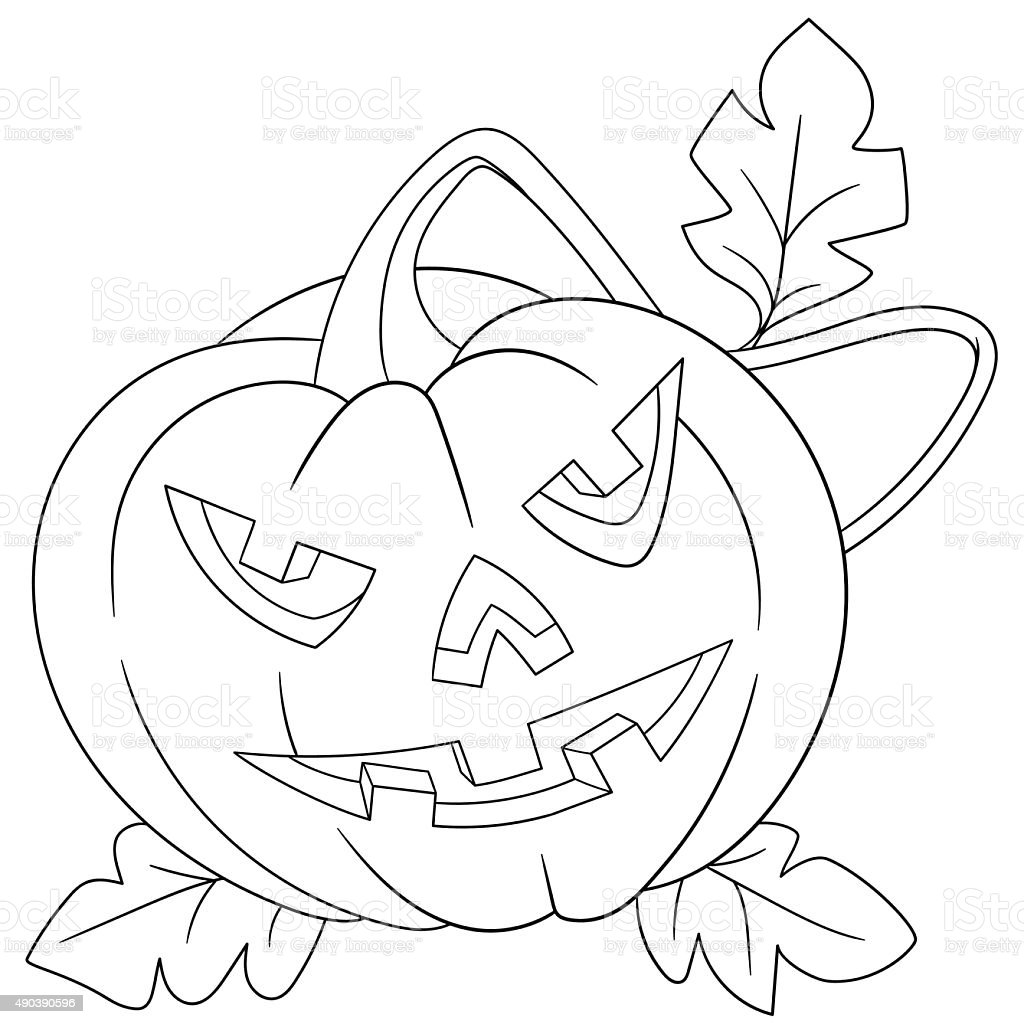 pumpkin on halloween vector art illustration