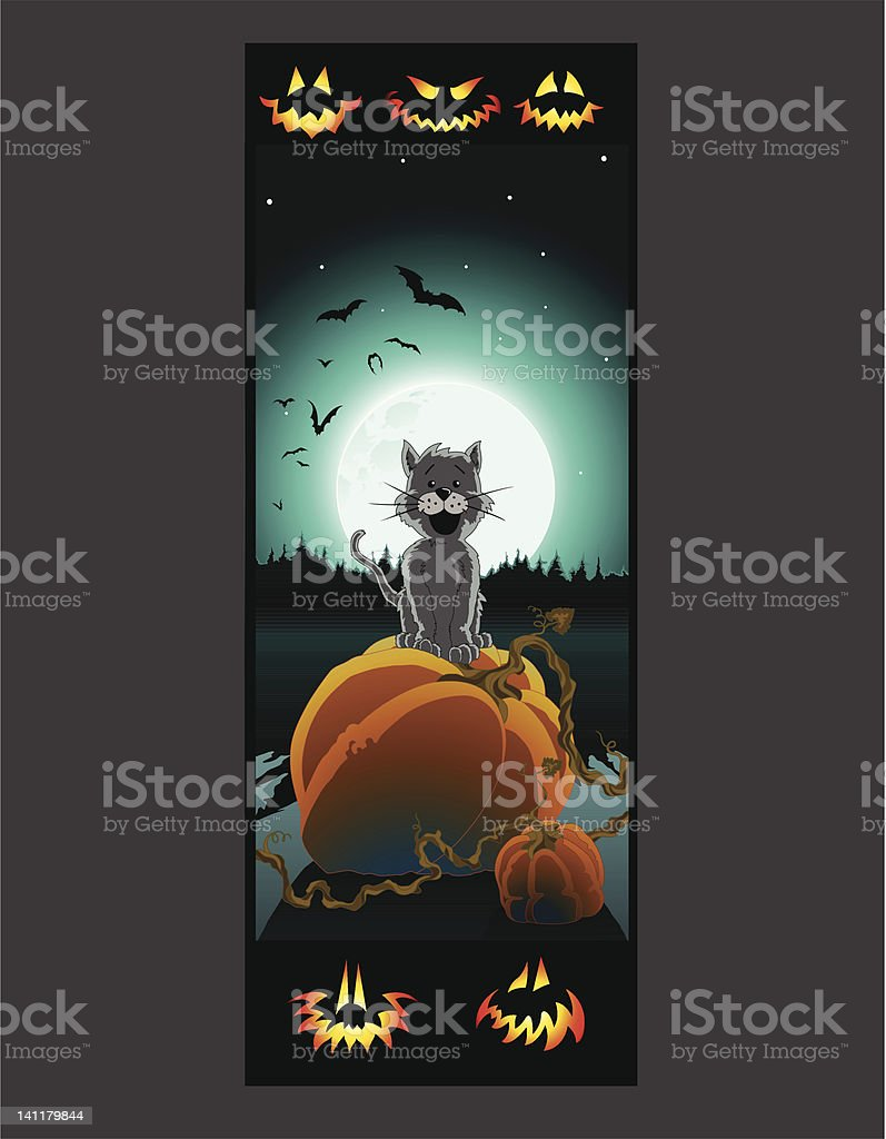 Pumpkin Patch Kitty royalty-free stock vector art