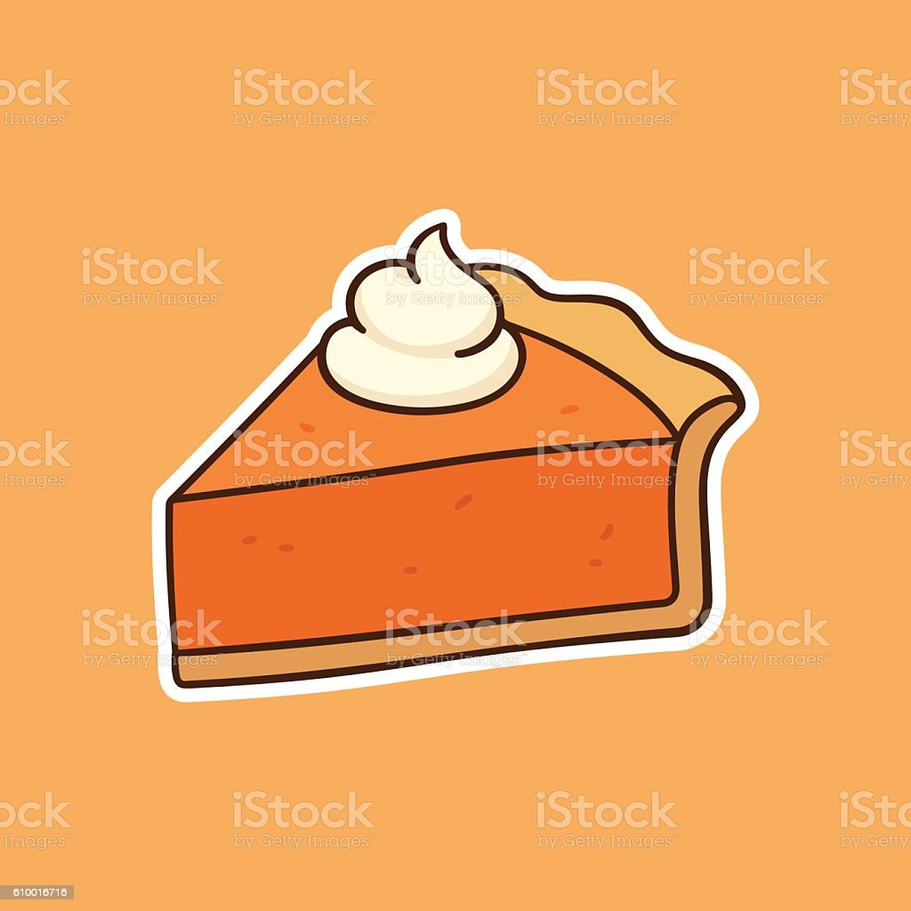 Pumpkin pie drawing vector art illustration