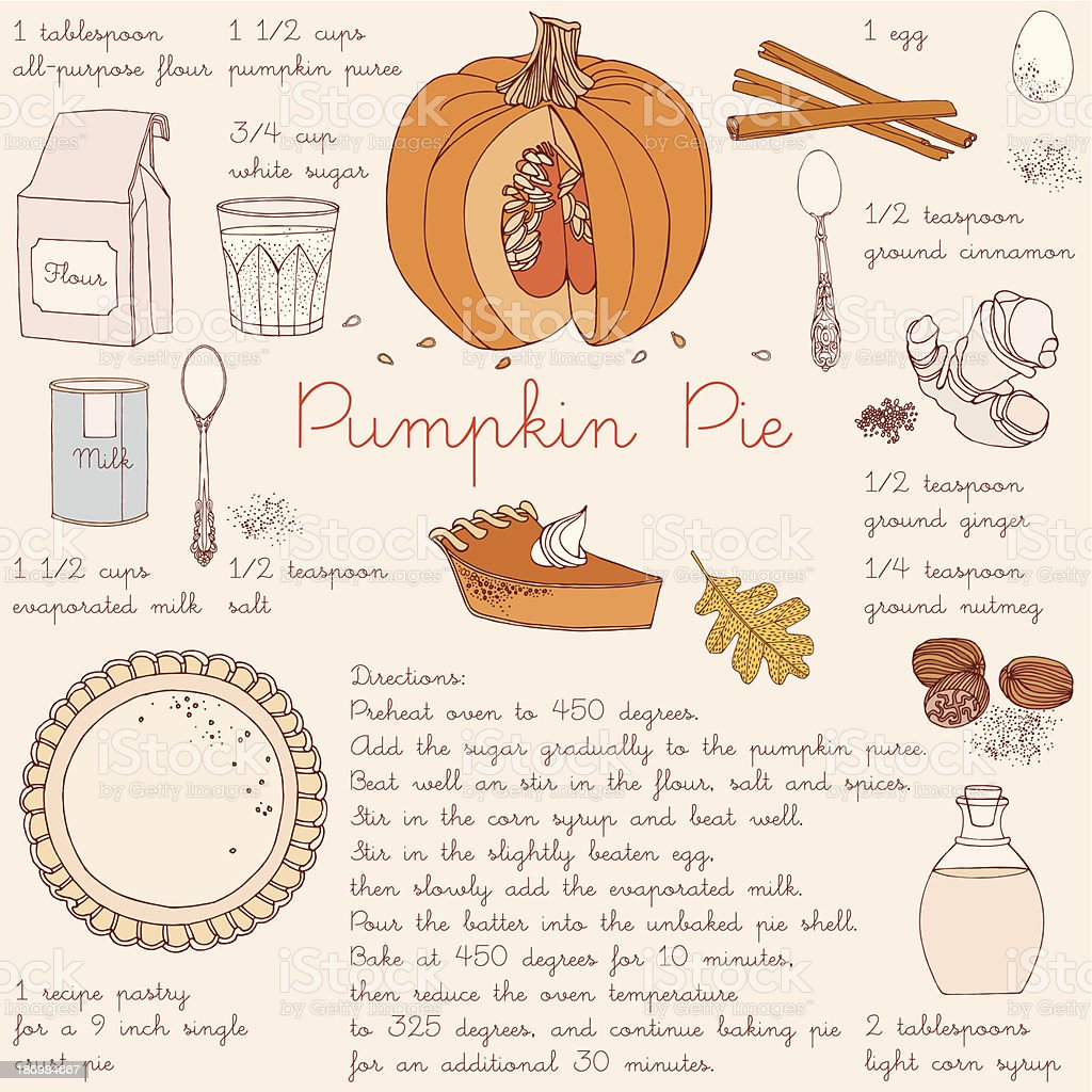 Pumpkin pie recipe. Thanksgiving Day card. vector art illustration