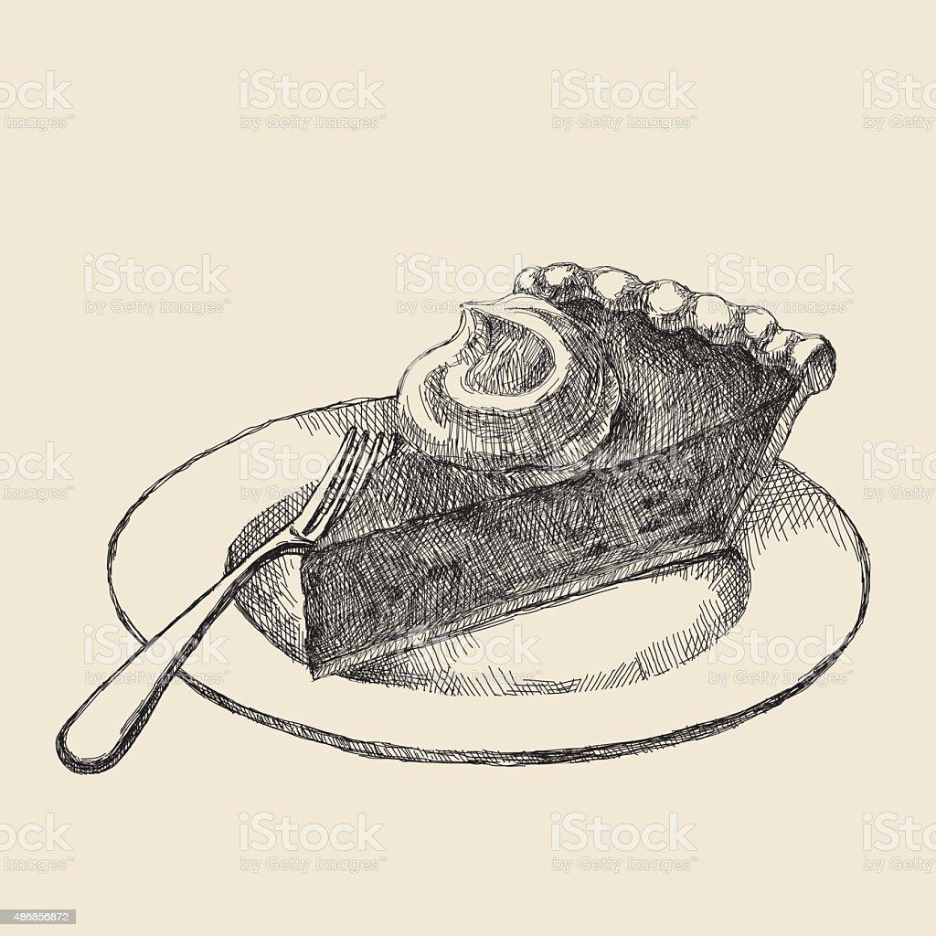 Pumpkin Pie Slice Drawing vector art illustration