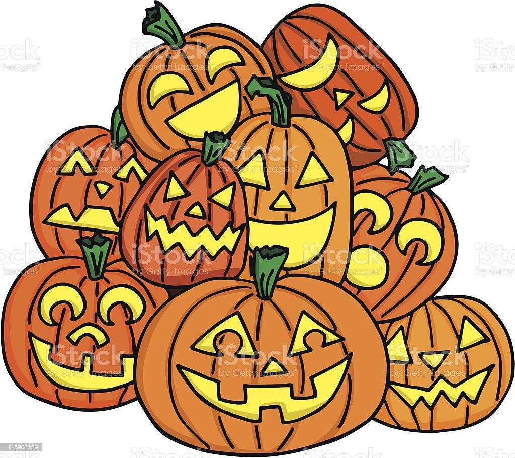 Pumpkin Pile royalty-free stock vector art
