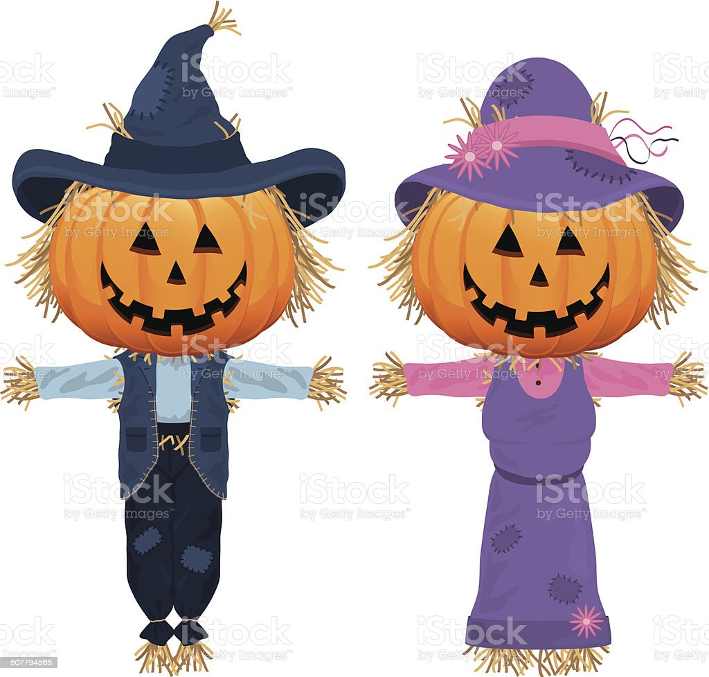 Pumpkin Scarecrows vector art illustration