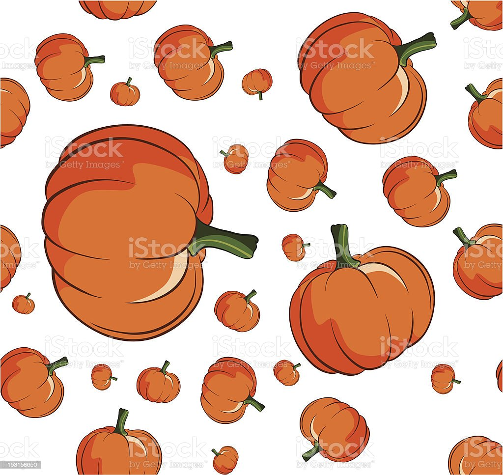 Pumpkin seamless background vector art illustration