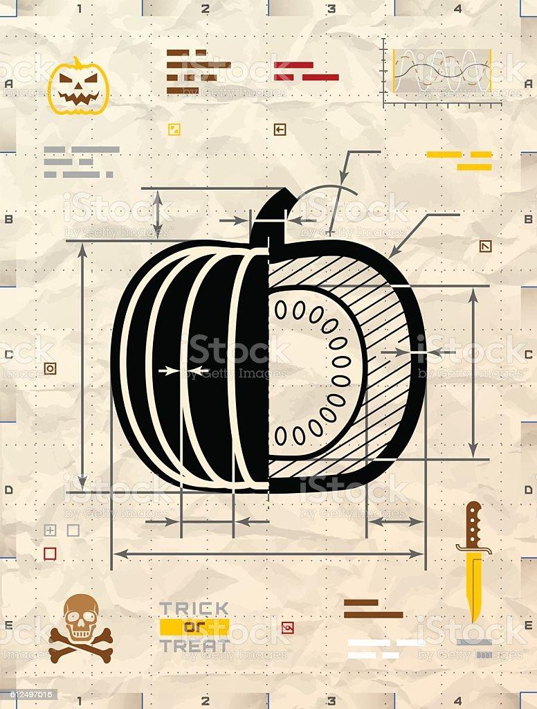 Pumpkin silhouette as technical blueprint drawing vector art illustration