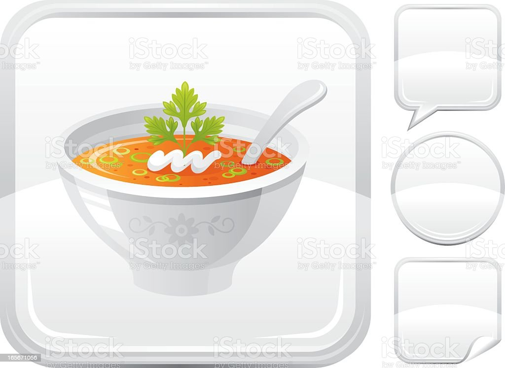 Pumpkin soup icon on silver button royalty-free stock vector art