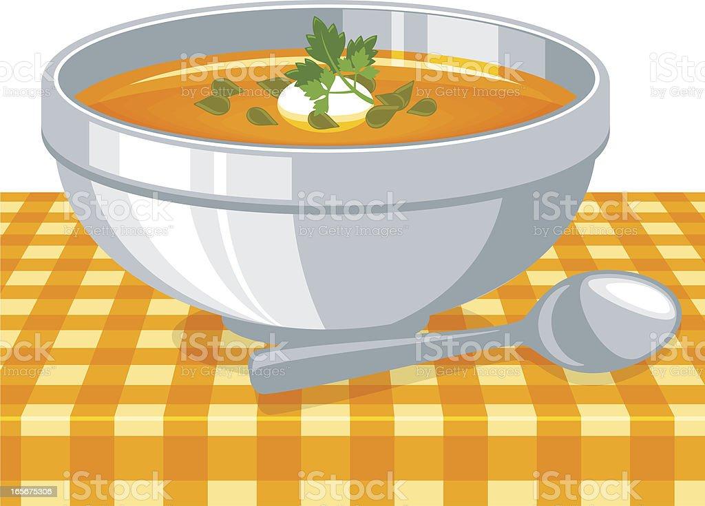 Pumpkin soup vector art illustration