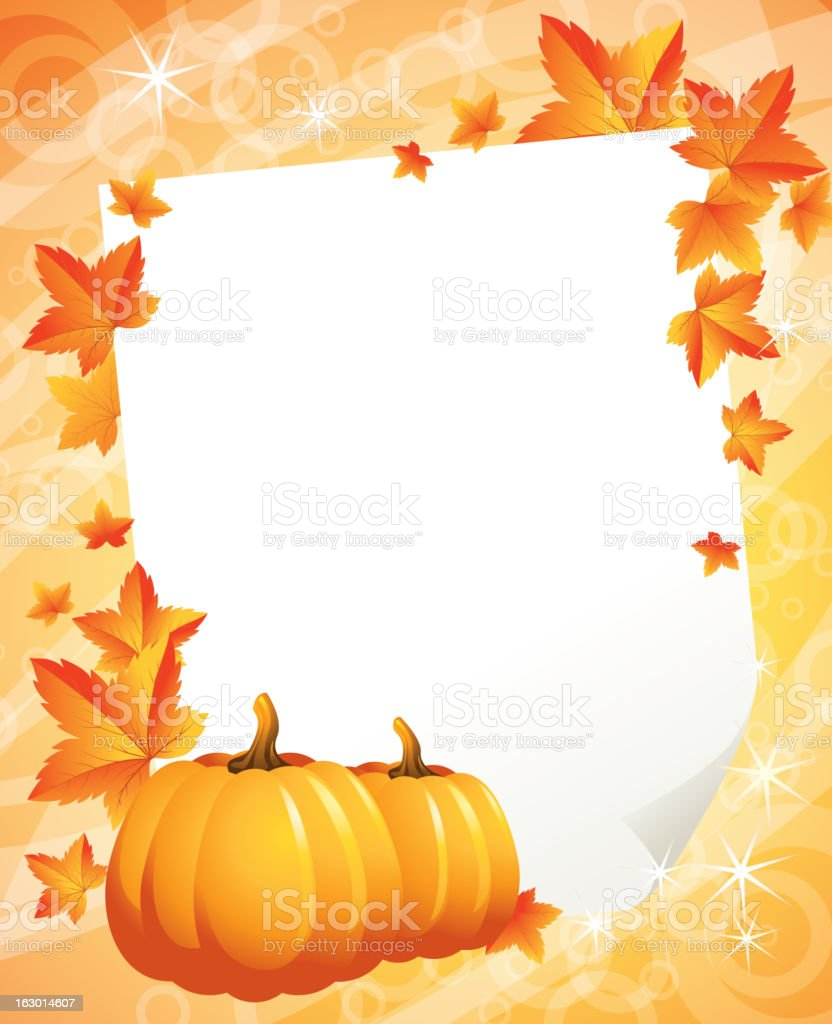 Pumpkins and autumn leaves royalty-free stock vector art