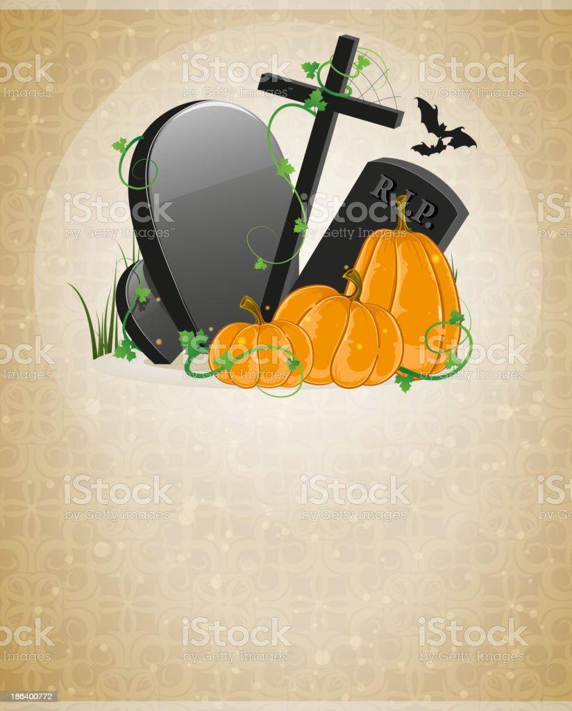 Pumpkins and graves royalty-free stock vector art