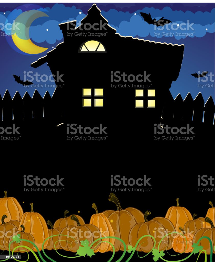 Pumpkins and haunted house royalty-free stock vector art
