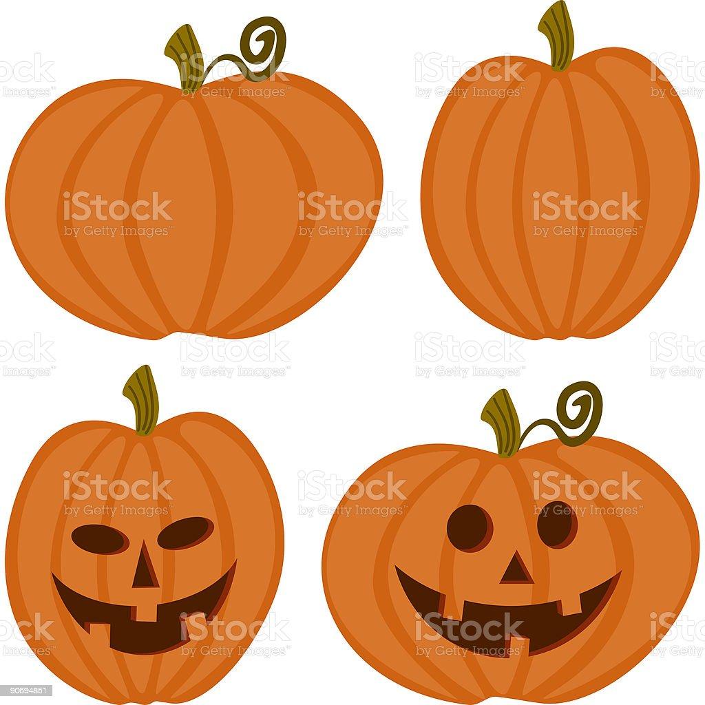 Pumpkins and Jack-o-lanterns royalty-free stock vector art
