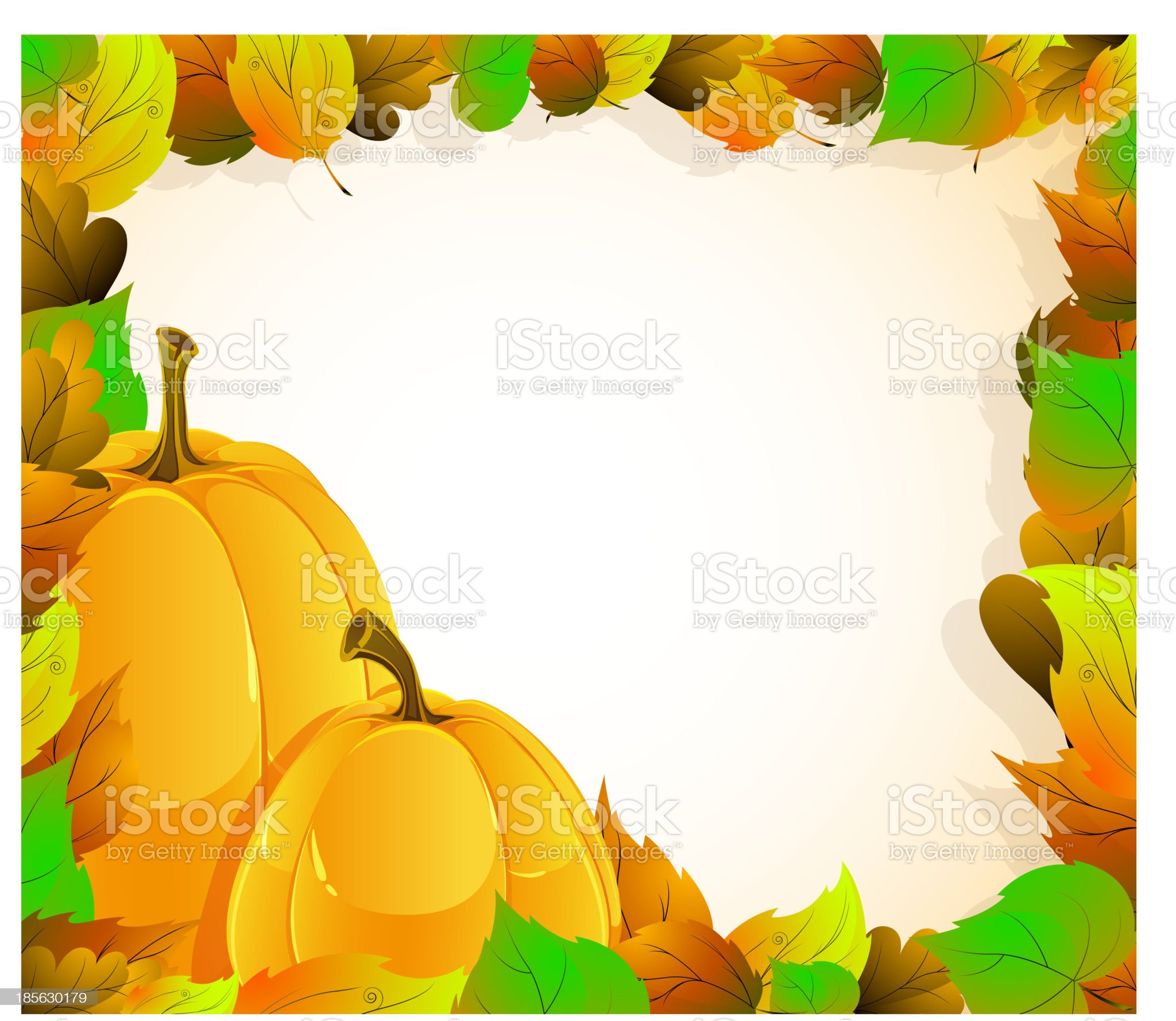 Pumpkins and  leaves royalty-free stock vector art