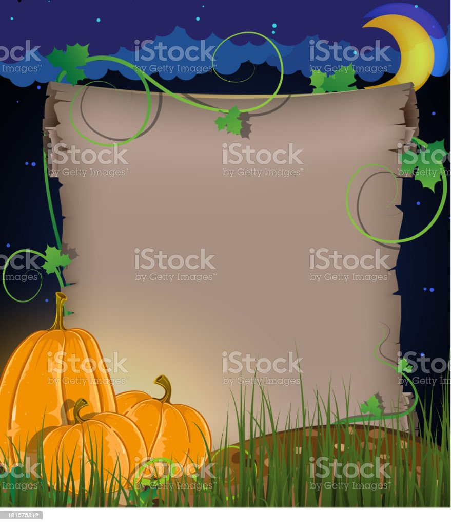 Pumpkins and parchment royalty-free stock vector art