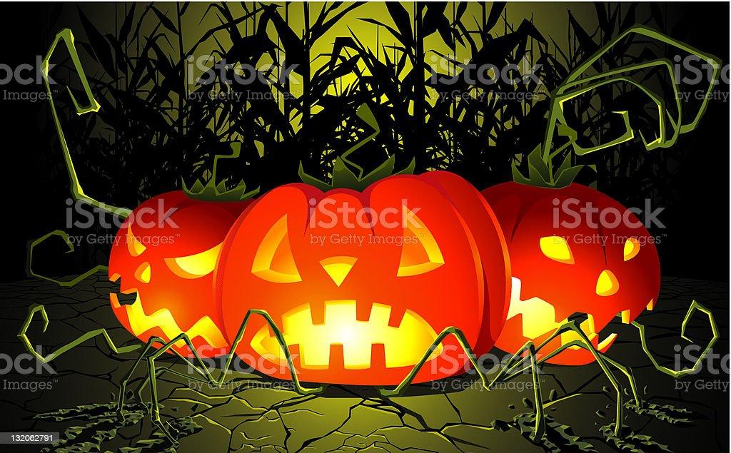 Pumpkins emerging from cornfield royalty-free stock vector art