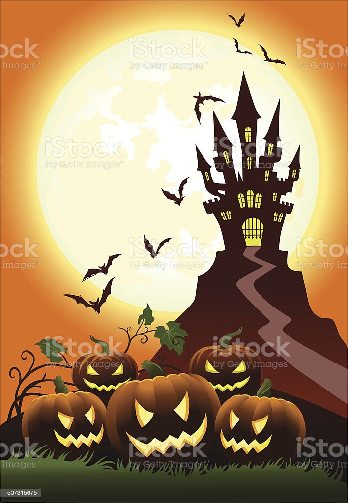 Pumpkins in Moonligh With Haunted Castle royalty-free stock vector art