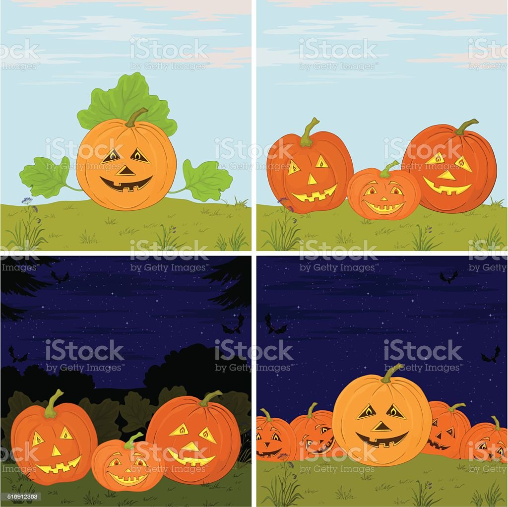 Pumpkins Jack O Lantern, set vector art illustration