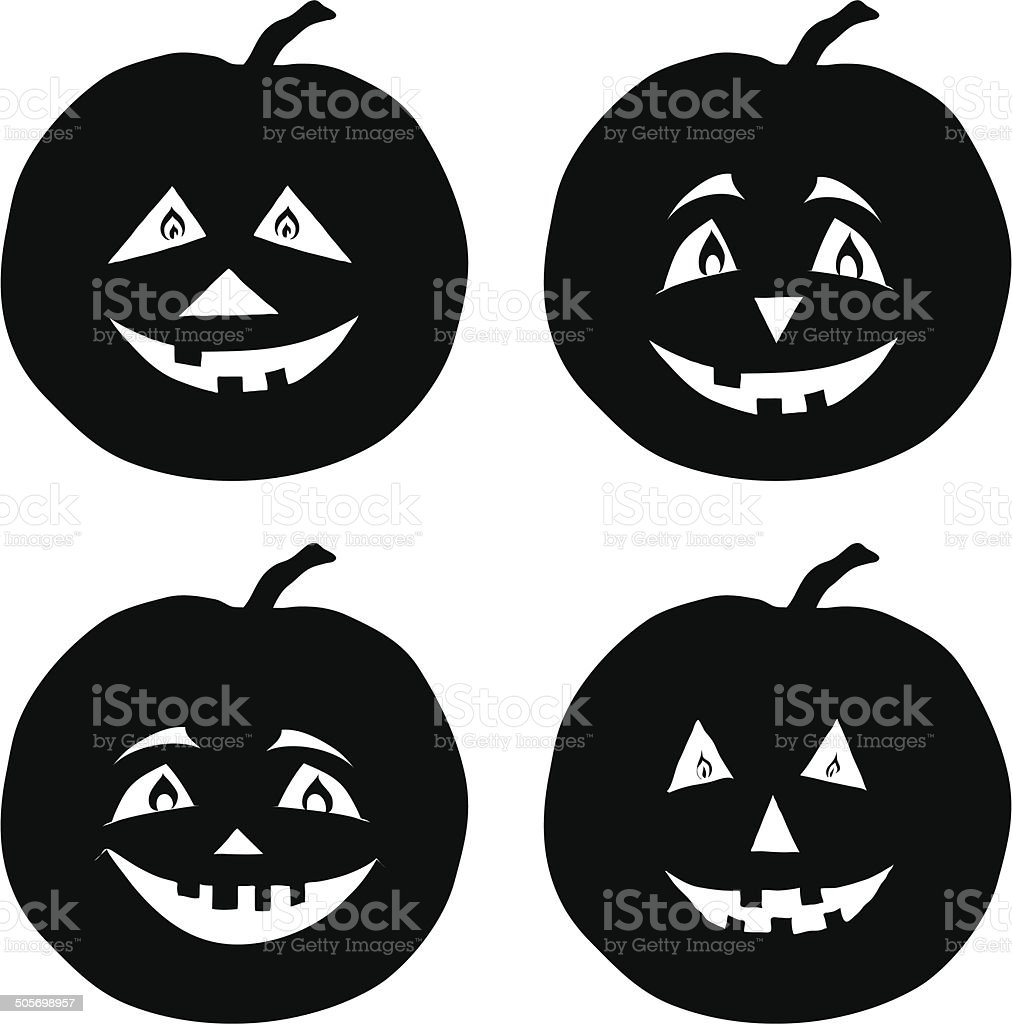 Pumpkins Jack O Lantern, silhouettes vector art illustration